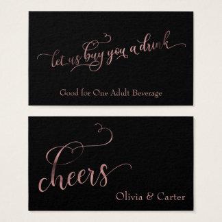 Drink Tickets, Elegant Rose Gold Foil on Black Business Card