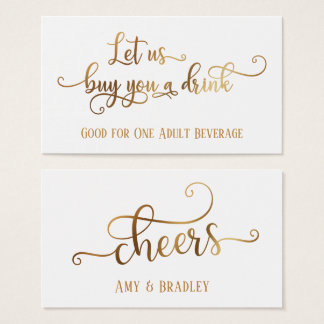 Drink Tickets | Faux Gold Foil on Editable White