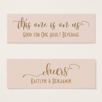 Drink Tickets, Faux Gold Glitter over Blush Pink Mini Business Card