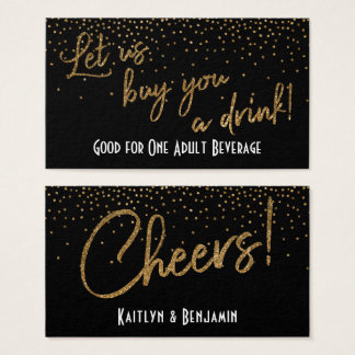 Drink Tickets, Gold Glitter Confetti on Black Business Card