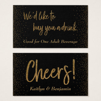 Drink Tickets, Gold Glitter Script & Confetti Business Card