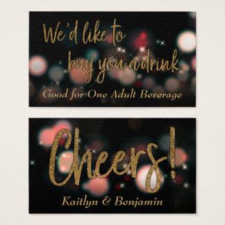 Drink Tickets, Gold Glitter w/ Red & Green Bokeh Business Card