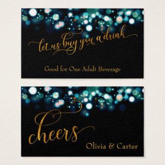 Drink Tickets, Gold Script & Teal Bokeh Business Card