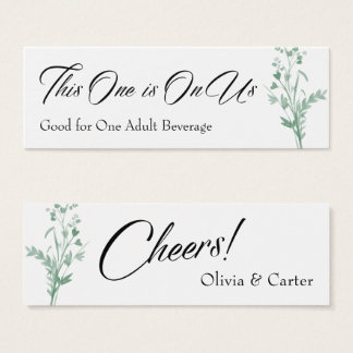 Drink Tickets, Green Watercolor Botanical Spray Mini Business Card