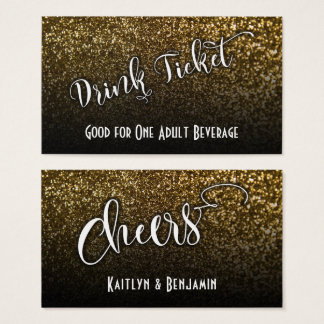 Drink Tickets on Faux Gold Glitter & Black Ombre 2