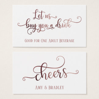 Drink Tickets | Rose Gold Script on Editable White