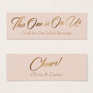 Drink Tickets, Slim, Elegant Gold Script on Blush Mini Business Card