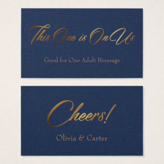Drink Tickets, Slim, Elegant Gold Script on Navy Business Card