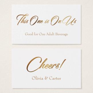 Drink Tickets, Slim, Slanted, Elegant Gold Script Business Card