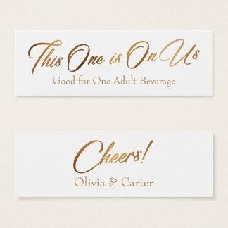 Drink Tickets, Slim, Slanted, Elegant Gold Script Mini Business Card