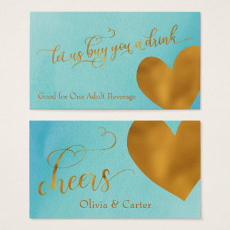 Drink Tickets w/ Gold Foil Heart & Teal Watercolor