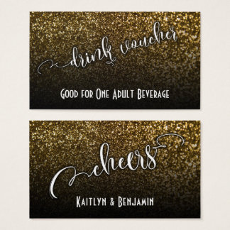Drink Vouchers on Gold Faux Glitter & Black Ombre Business Card