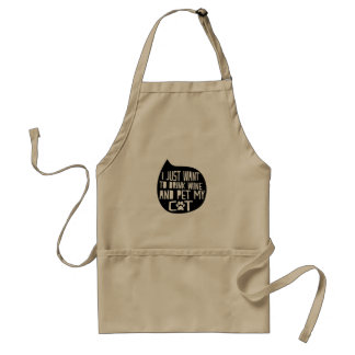 Drink Wine and Pet My Cat Standard Apron