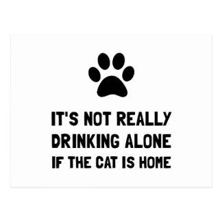 Drinking Alone Cat Postcard