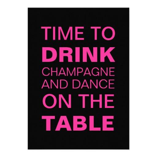 Drinking Champagne in Fuchsia 21st Birthday Invite Card