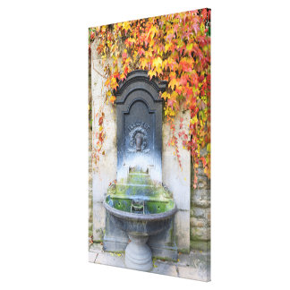 Drinking fountain in fall, Hungary Canvas Print