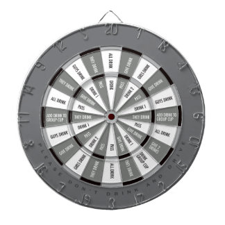 Drinking Game in Black and White and Gray Dartboard