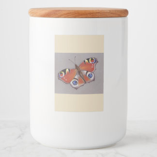 Drinking Jar Label with Peacock Butterfly Design