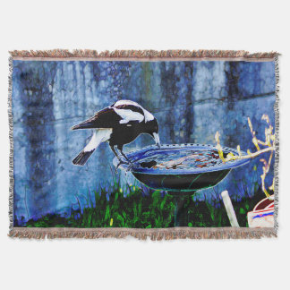 Drinking Magpie Throw Blanket