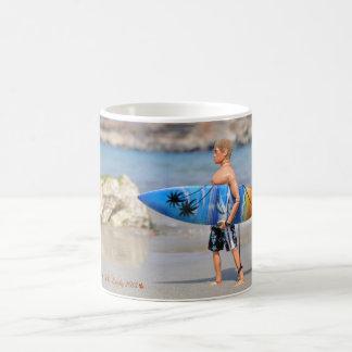 Drinking Mug depicting Action Man and surf board