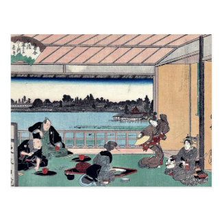 Drinking party at restaurant by Andō,Hiroshige Postcard