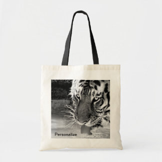 Drinking Tiger At Watering Hole Black And White Budget Tote Bag