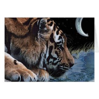 Drinking Tiger & Moon Fantasy Art Card