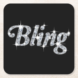 Drinks Coaster featuring faux diamond bling design