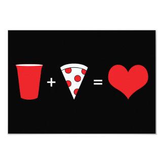 drinks + pizza = love 9 cm x 13 cm invitation card