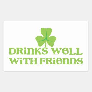 DRINKS well with friends shamrock clover leaf Rectangular Sticker