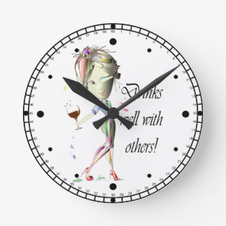 Drinks well with others, funny Wine art Clock