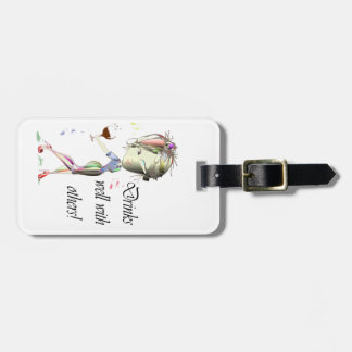 Drinks well with others, funny Wine art Luggage Tag