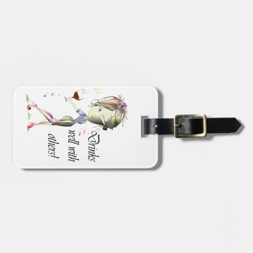 Drinks well with others, funny Wine art Tags For Bags