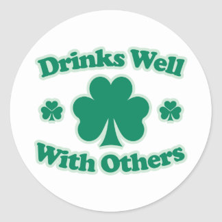 Drinks Well With Others Round Sticker