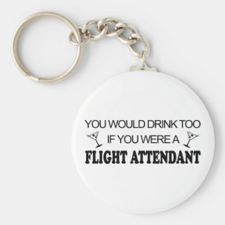 DrinkToo - Flight Attendant Basic Round Button Key Ring