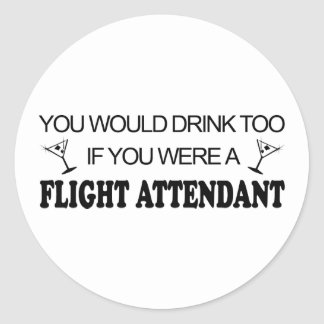 DrinkToo - Flight Attendant Classic Round Sticker