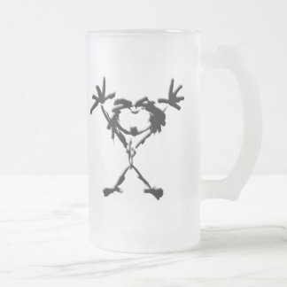 drio stickman frosted glass beer mug