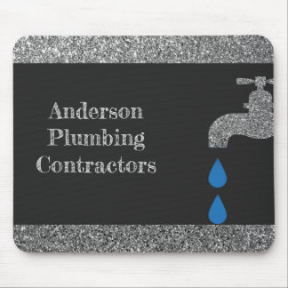 Dripping  faucet and water plumbing glitter effect mouse pad