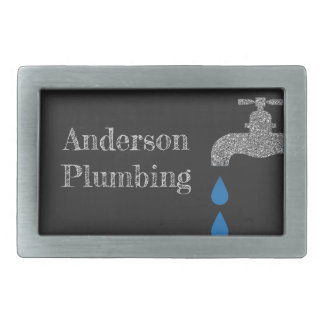 Dripping  faucet and water plumbing glitter effect rectangular belt buckle