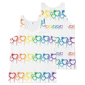 Dripping Heart Rainbow All-Over Printed Unisex All-Over Print Singlet