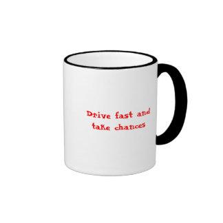 Drive fast ringer mug