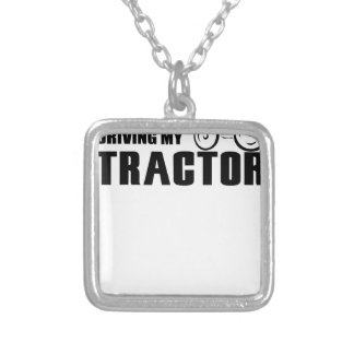 Drive my Tractor Silver Plated Necklace