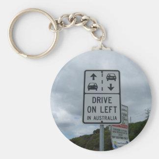 Drive On Left in Australia Sign Key Ring