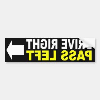 Drive Right Pass Left Front Bumper Sticker