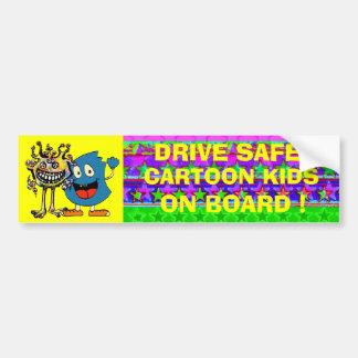 DRIVE SAFE ! CARTOON KIDS ON BOARD ! BUMPER STICKER