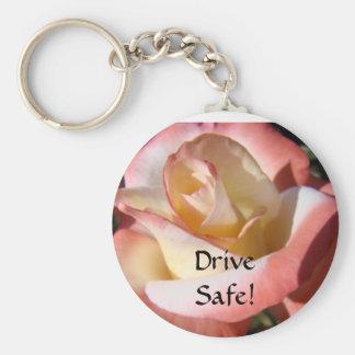 Drive Safe! Moms said keychain Pink Rose Flower