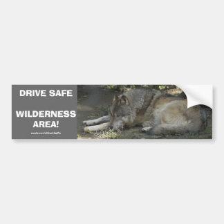 DRIVE SAFE WILDLIFE GREY WOLF Bumper Sticker