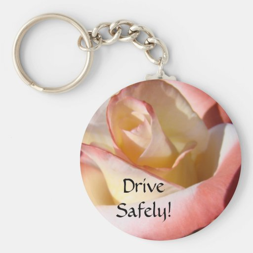 Drive Safely! Keychains Mom Said Pink White Rose