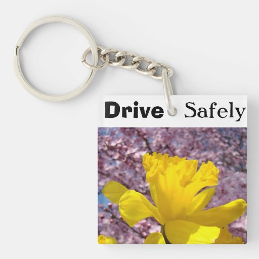 Drive Safely keychains Personalized Daffodils