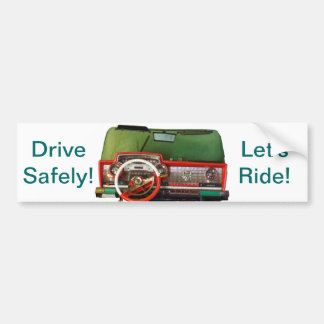 Drive Safely! Nostalgic Toy Dashboard Pic Car Bumper Sticker